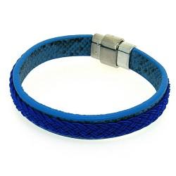 Armband pu leer snake blauw...