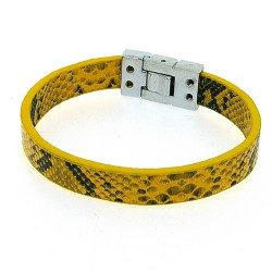Armband PU leer snake geel