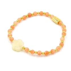 Armband 4mm steenkralen met gouden balletjes en halfedelsteen bloem