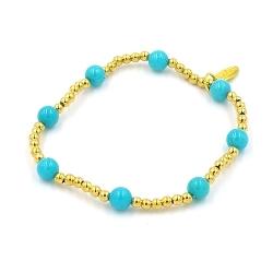 Armband 4mm gekleurd turquoise met verguld gouden balletjes