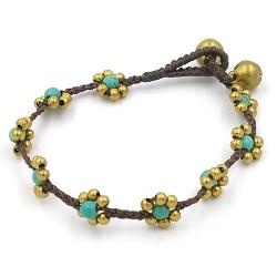 Armband 4mm stone beads bloemetje met oudgoud