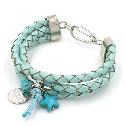 Armband gevlochten natuurleer 3 rij turquoise
