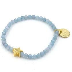 Armband 4mm steenkralen met verguld sterretje lichtblauw