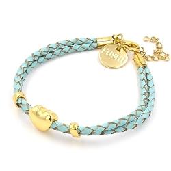Armband gevlochten natuurleer met verguld goud hartje