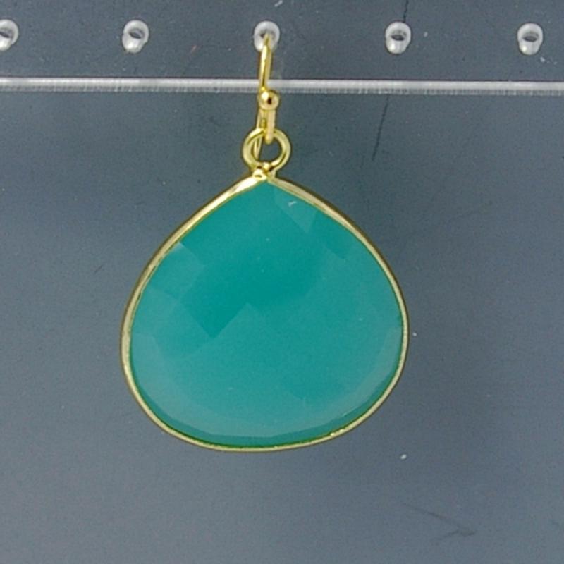 Oorbellen facet geslepen crystal druppel 25x25mm (mint)
