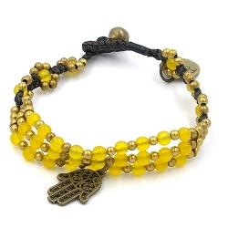 Armband 4mm stone beads met oudgoud