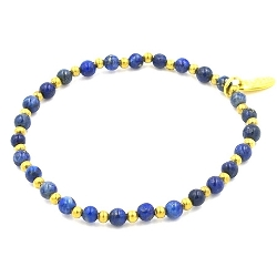 Armband 4mm lapis lazuli met oudgoud kraaltjes