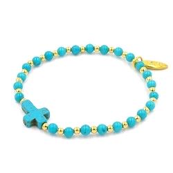 Armband 4mm steenkralen turquoise en verguld gouden balletjes en gekleurd turquoise kruis