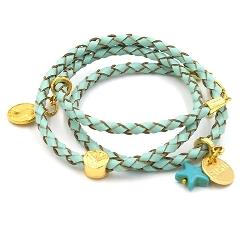 Armband gevlochten natuurleer wrap 3 rij donkerblauw