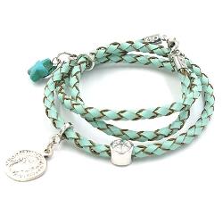 Armband gevlochten natuurleer wrap 3 rij turquoise