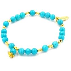 Armband 6mm gekleurd turquoise met verguld gouden balletjes