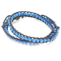 Armband wrap met steenkralen, blauw