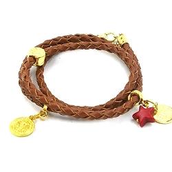 Armband gevlochten natuurleer wrap 3 rij bruin