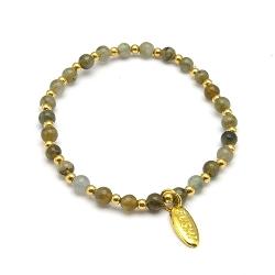 Armband labradorite met verguld gouden balletjes
