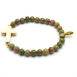 Armband 6mm halfedelsteen unakite met gekleurd turquoise kruis