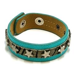 Armband pu leer met bontje en metalen sterren turquoise