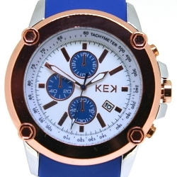 KEK horloge unisex blauw/wit